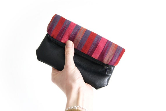 LAST ONE Small Black and stripe . Two-tone fold over zip pouch purse . Black faux leather and ikat stripes