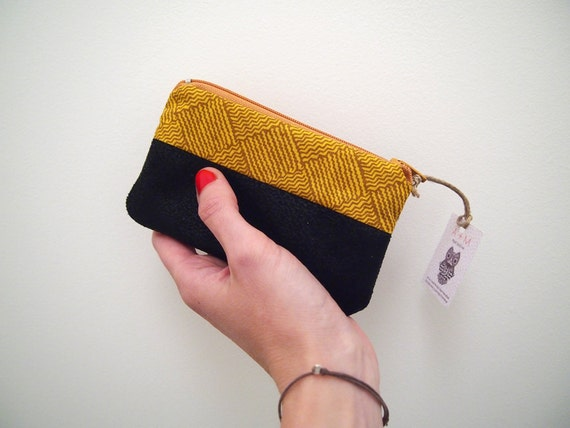 Coin holder Zippered pouch Wallet Card holder Black faux leather and gold yellow cotton