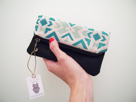 Fold over tribal navajo pouch Turquoise and black zipper clutch Beige imitation suede fabric with ethnic handpainted pattern