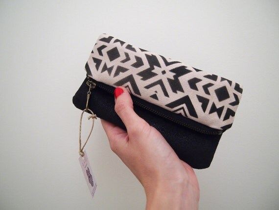 CIJ Fold over geometric pattern pouch Beige and black zip clutch Faux leather & suede fabric with navajo ethnic