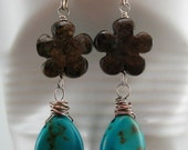 Turquoise and Bronzite Earrings