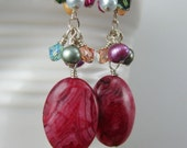 Red Crazy Lace Agate, Pearl and Swarovski Crystal Sterling Silver Earrings