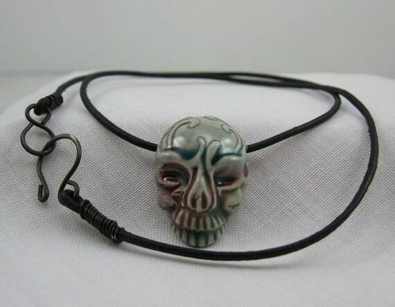 Raku Skull Leather Men's Face Necklace