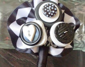 Black and White Button Boutonniere, ,Button Hole
