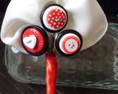 Red Button Boutonniere, Wedding, Button hole