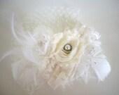 Shabby Chic Fascinator, Bridal, Hair, Feathers, Wedding
