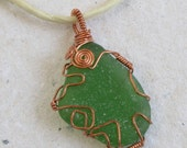 Wire Wrapped Sea Glass Pendant on a Silk Cord