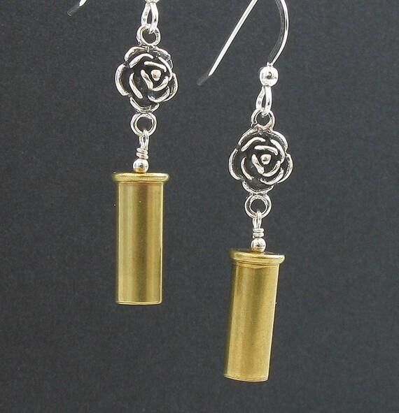 Bullet Casing Jewelry - Guns and Roses - 22 Caliber Earrings