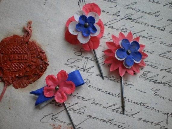 3 Gorgeous petite antique French Republique de France tricolor rosette pin brooches