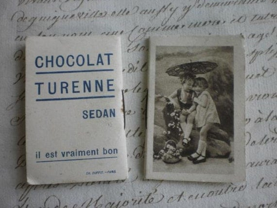 2 Adorable petite antique French advertising calender booklets dated 1934 CHOCOLAT TURENNE Sedan