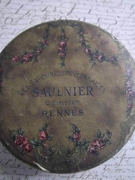 Divine shabby chic antique French advertising confiserie bon bon tin with rose garlands - a timeworn confection