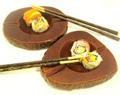 Vintage Pair Red Brown Alabaster Ashtrays or Sushi Dishes Italian Tobacciana