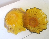 Pair of Sunflower-Embossed Amber Glass Lily Pons bowls by Indian Glass Pattern 605