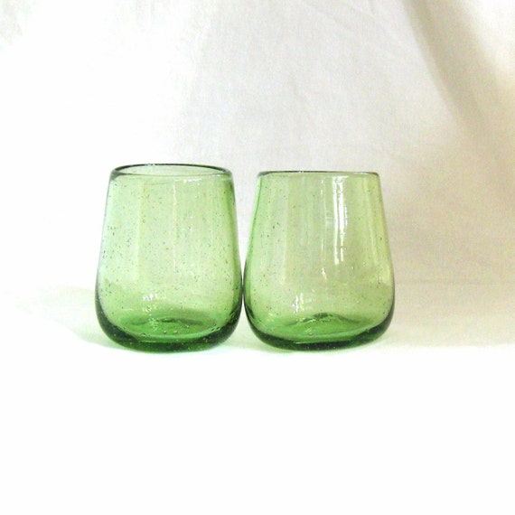 Tiny Bubbles - pair of small pale bottlegreen blown bubble-glass vases or glasses...turn your water in to champagne