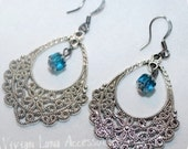 Scroll Earring with Teal Drop Bead