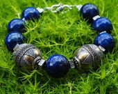 Ethnic Exotic Lapis Lazuli Gemstone Bracelet, Chunky Bohemian Cobalt Royal Blue Bracelet, Statement Bracelet, Sterling Silver Brass Bracelet