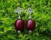 Chunky Burgundy Plum Earrings, Bohemian Filligree Dark Red Earrings