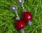 Red Coral Earrings, Bohemian Gemstone Earrings, 35th Anniversary Gift, Summer Jewelry