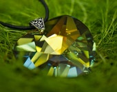 Fall Iridescent Green Yellow Crystal Heart Pendant on Leather Cord, Sweet 16th Necklace, Christmas Gift