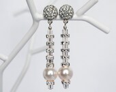 Swarovski Bridal White Pearl Clear Crystal Earrings, Rhinestone Wedding Earrings, Bride to Be Jewelry, Cocktail Comunion Prom Jewelry