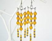 Amber Crystal Chandelier Earrings, Dangle Yellow Bohemian Earrings, Summer Vacation Jewelry