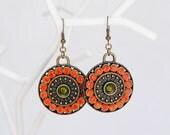 Fall Pumpking Orange Green Boho Earrings, Bohemian Antique Bronze Jewelry, Swarovski Crystals Earrings, Round Funky Summer Earrings