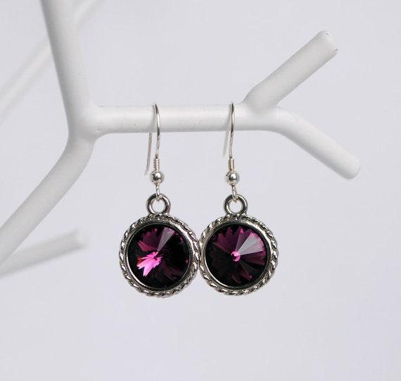 Swarovski Amethyst Crystal Earrings, Purple Bridesmaids Earrings