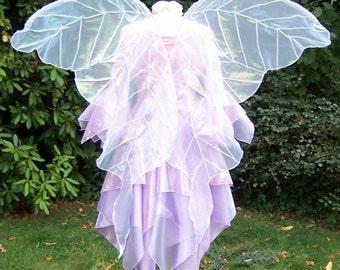 Huge White Gossamer Opalescent Veined Fairy Wings Faerie Costume adult xl Wedding goddess angel Cosplay larp gown dress up Halloween plus