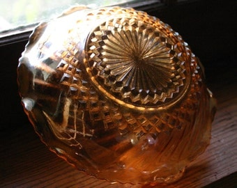 Carnival Glass Bowl Amber