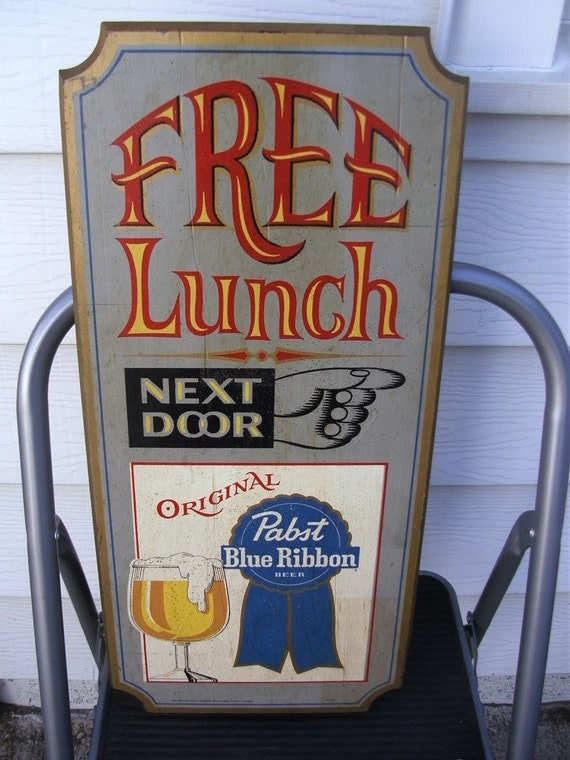 Free Lunch Pabst Blue Ribbon Bar Sign PBR