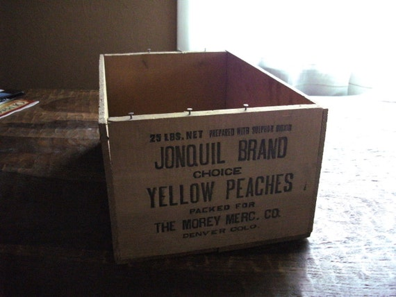 Jonquil Brand Peaches Wood Crate