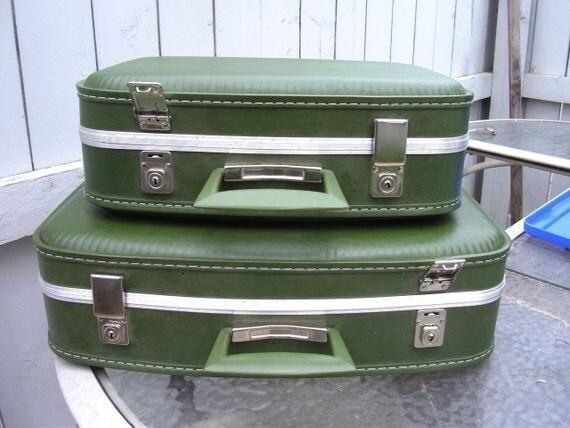 1960s Green Suitcase Set Luggage