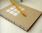 FREE SHIPPING in USA - small graph paper notebook, hand-bound and hand-painted with beaded bookmark: Square One