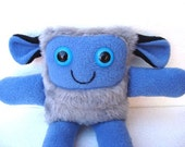Plush monster toy in faux fur and blue fleece - Koala- MADE TO ORDER