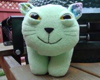 Stuffed animal kitty cat plush in green fleece - Whiskers
