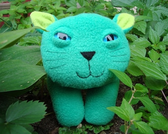 Stuffed animal kitty plush cat in green