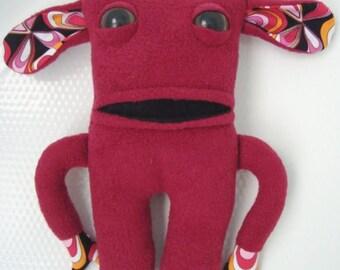Stuffed Plush monster in dark red fleece colour-Wilbert