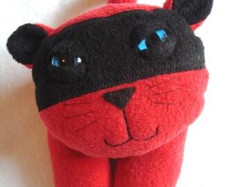 Stuffed animal plush cat ninja kitty in red and black fleece - Kiko