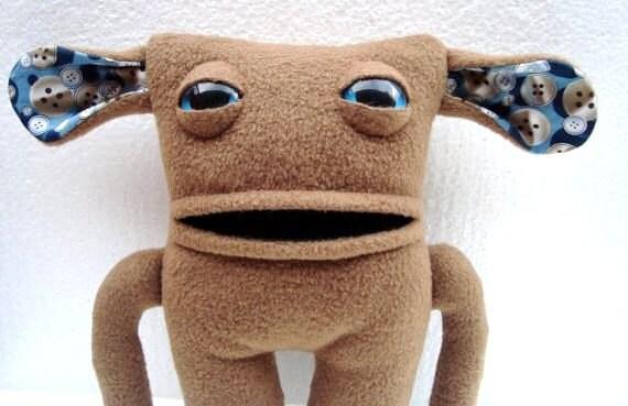 stuffed monster plush in brown fleece - Wilbert