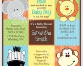 Stylish Jungle Animals Printable Baby Shower or Birthday Invitation -- Square -- Any color