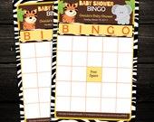 Zebra Jungle Safari Friends BINGO game cards - PRINTABLE - Baby Shower, Birthday Favors