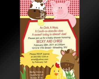 Farm Baby Shower Invitations, Barnyard Invite, cow, pig, horse, printed invitations with envelopes, set of 10