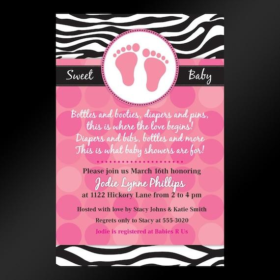Zebra Print Invitation, hot pink and zebra invite, printable, digital, diy, baby shower or birthday in any color