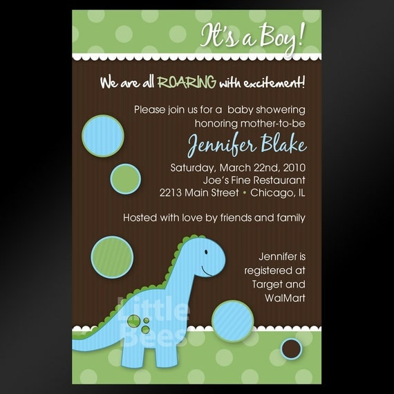 Dinosaur or T-Rex Printable Baby Shower or Birthday Invitation
