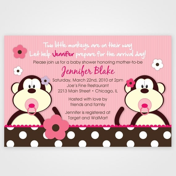 Twin Baby Shower Invitation, Monkey invitation, Twin invitations, Monkey baby shower, printable invitation in any color