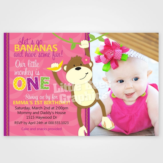 Let's Go Bananas Girly Monkey Printable Birthday Invitation -- 1st, 2nd, 3rd -- Any color
