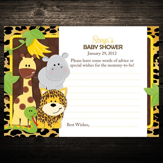 10 Wild Leopard Print Jungle Friends Baby Shower Advice Cards - ANY COLOR