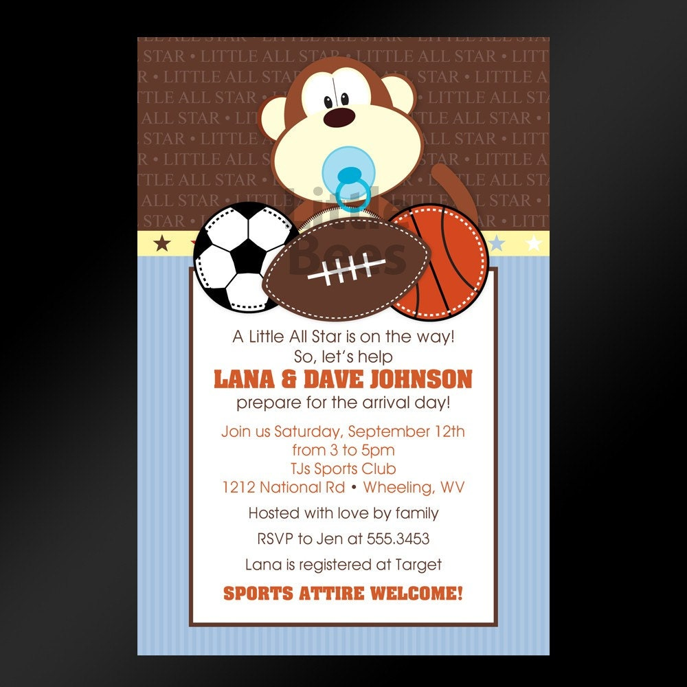 jungle sports printable baby shower by littlebeesgraphics on etsy