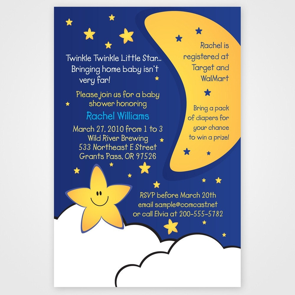 This is a picture of Dramatic Free Printable Twinkle Twinkle Little Star Baby Shower Invitations
