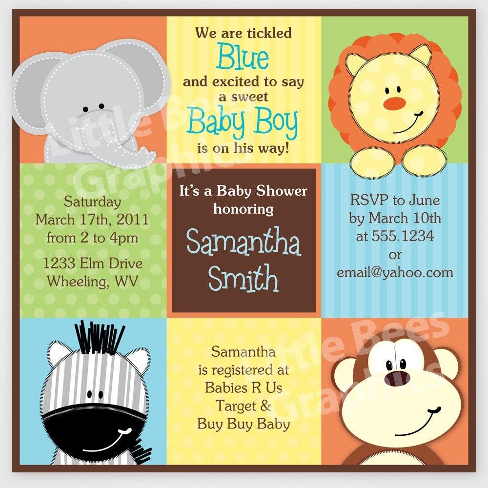 Safari Baby Shower Invitation: Stylish Jungle Animals Printable Baby Shower By